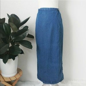 Vintage 90s Denim Midi Wrap Skirt